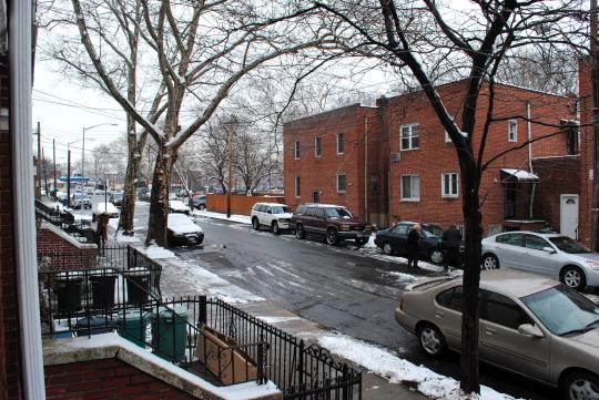 [lightly snowed street view]