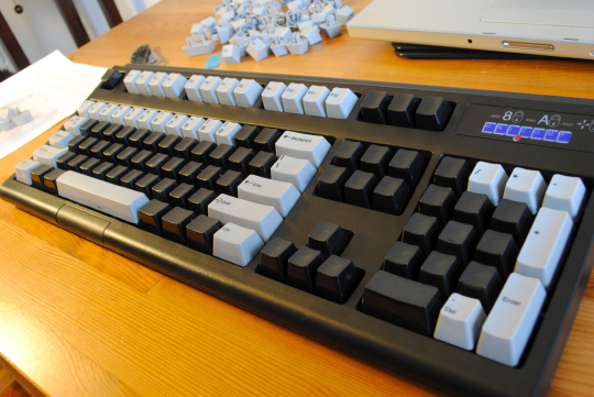 [keyboard with mixed keycaps]
