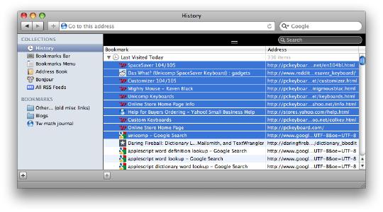 [Safari browsing history with items selected]