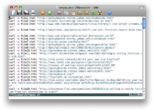 [edited download commands in MacVim]